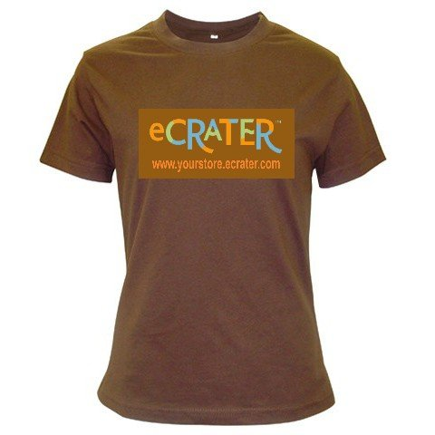 Custom BROWN T-Shirt Ladies LARGE Customize Promotional Item Personalize It