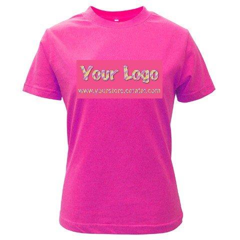 Custom FUSCHIA T-Shirt Ladies MEDIUM Customize Promotional Item Personalize It