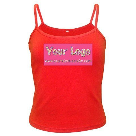 Custom RED Spaghetti Tank Ladies SMALL Customize Promotional Item Personalize It
