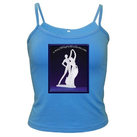Custom BLUE Spaghetti Tank Ladies LARGE Customize Promotional Item Personalize It