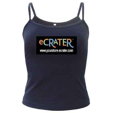 Custom NAVY Spaghetti Tank Ladies SMALL Customize Promotional Item Personalize It