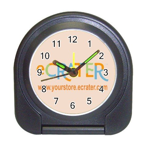 Custom BLACK Travel Alarm Clock Customize Promotional Item Personalize It