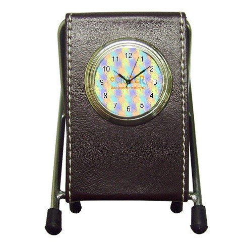 Custom Pen Holder Desk Clock BROWN Customize Promotional Item Personalize It