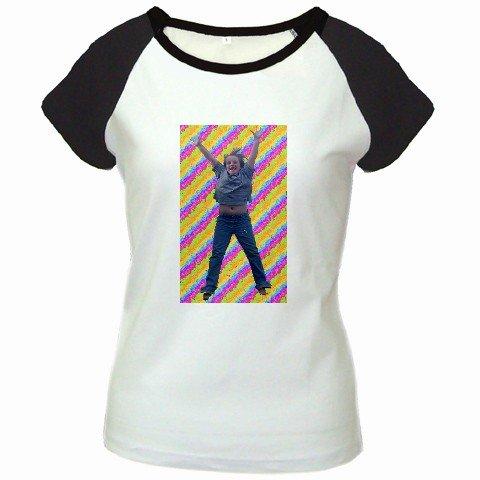 Custom Women's Cap Sleeve T-Shirt White Black 2XL 2X Customized Promotional Personalize It