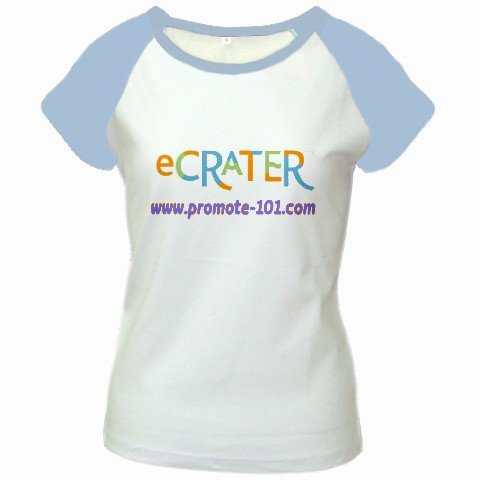 Custom Women's Cap Sleeve T-Shirt White Baby Blue SMALL Customized Promotional Personalize It