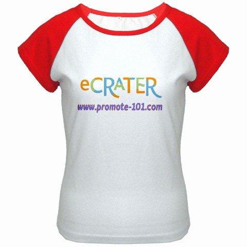 Custom Women's Cap Sleeve T-Shirt White Red Medium Customized Promotional Personalize It