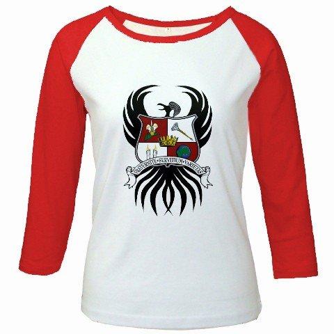 Custom Jr. Raglan Baseball Jersey Red White T-Shirt Medium Promotional Personalize It Logo Item