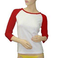 Custom Jr. Raglan Baseball Jersey Red White T-Shirt Large Promotional Personalize It Logo Item