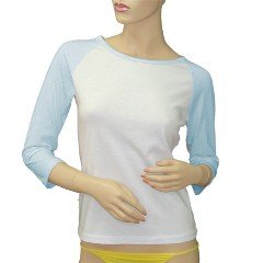Custom Jr. Raglan Baseball Jersey Baby Blue White T-Shirt SMALL Promotional Personalize It Logo Item