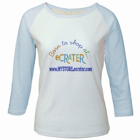 Custom Jr. Raglan Baseball Jersey Baby Blue White T-Shirt Medium Promotional Personalize Logo Item