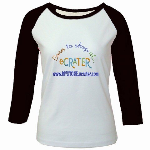 Custom Jr. Raglan Baseball Jersey Black White T-Shirt Medium Promotional Personalize It Logo Item