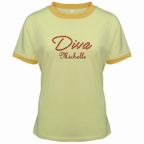 Ringer T-Shirt Jr  Medium Yellow Customized Promotional Personalize It Logo Item