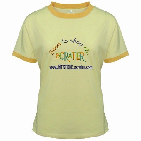 Ringer T-Shirt Jr Large Yellow Customized Promotional Personalize It Logo Item