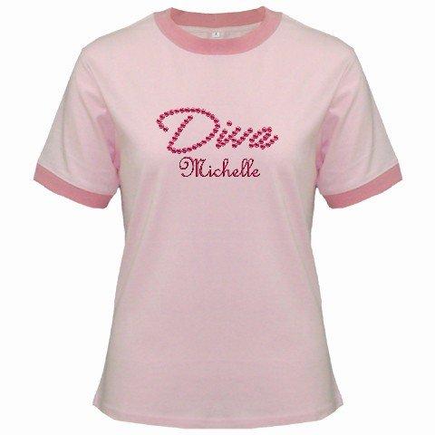 Ringer T-Shirt Jr Medium Pink Customized Promotional Personalize It Logo Item