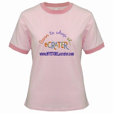 Ringer T-Shirt Jr  Ex-Large XL Pink Customized Promotional Personalize It Logo Item