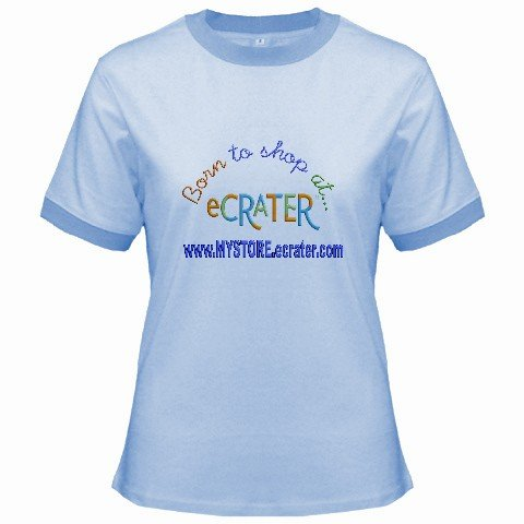 Ringer T-Shirt Jr SMALL Blue Customized Promotional Personalize It Logo Item