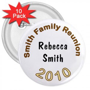 "Customized 3"" Button Name Pins 10 pack Personalize Family Reunions ON SALE"