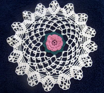 Handmade crocheted Dusty Rose Doily