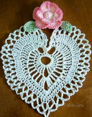 Hand crocheted Rose Heart Coaster set of 4