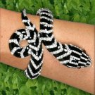 Black and White Rhinestone Snake Bracelet with Hinge