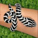 Black and White Rhinestone Snake Bracelet with Hinge