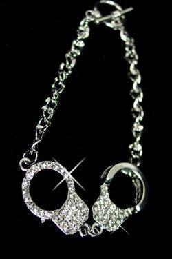 Handcuff Bracelet with Rhinestones