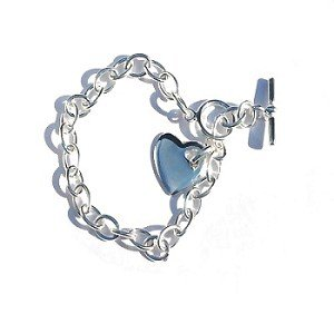 Sterling Silver Italian 8.5 Inch 7mm Wide link Bracelet w heart tag