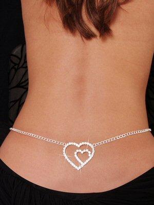 Double Heart - Low Back Rhinestone Belly Chain