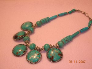 Turquoise Necklace with 5 pendants FREE SHIPPING