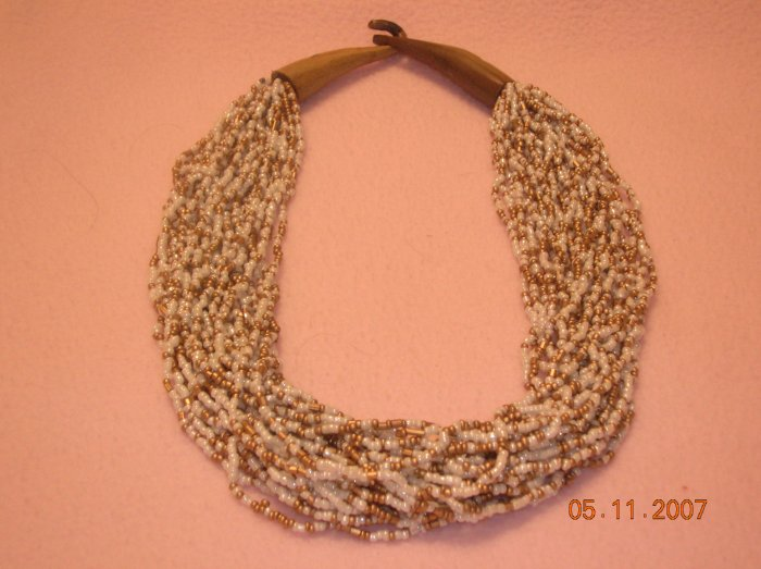 White and Gold beads necklace FREE SHIPPING