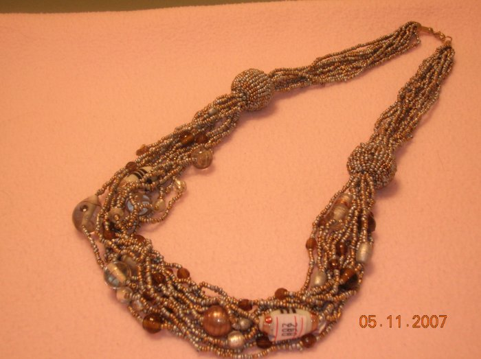 Long silver and gold beads necklace FREE SHIPPING