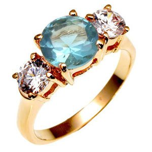 Bargain Jewelry: Blue Topaz Triple Anniversary CZ Ring NEW Size 6