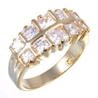 Bargain Jewelry: Double Row Clear CZ Ring, size 8
