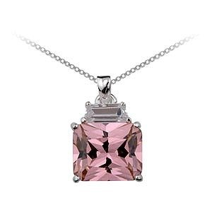 Free Shipping: Stunning Pink Square Cut Pendant