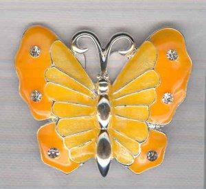 Bargain Jewelry: Yellow Silvertoned Enamel Butterfly Pin FREE SHIPPING