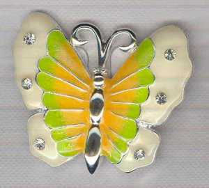 Bargain Jewelry: Yellow Green and White Enamel and Silvertoned Butterfly Pin