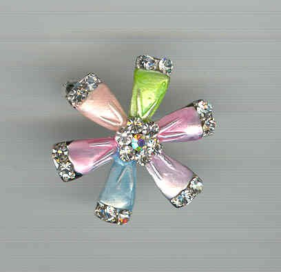 Bargain Jewelry: Multicolored Flower Pinwheel Pin Brooch FREE SHIPPING