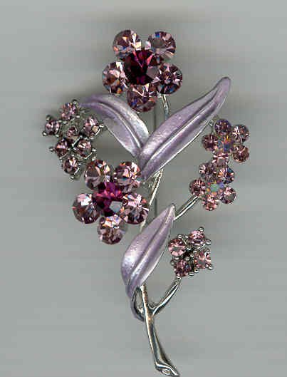 Bargain Jewelry: Purple Crystal Flower Pin Broach FREE SHIPPING