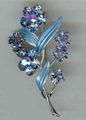Bargain Jewelry: Blue Crystal Flower Pin Brooch FREE SHIPPING