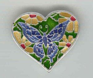 Baragain Jewelry: Silvertone Multicolored Enamel Butterfly Heart Pin