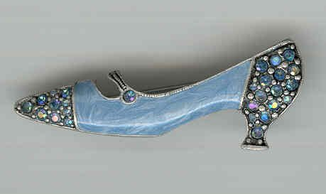 Bargain Jewelry: Blue Shoe Enamel and Crystal Pin Brooch FREE SHIPPING