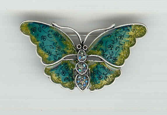 Bargain Jewelry: Multicolored Butterfly Pewter toned Pin Brooch FREE SHIPPING