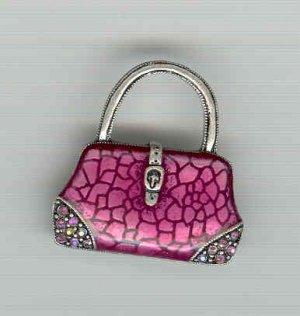 Bargain Jewelry: Pink Handbag Enamel and Crystal Pin Brooch FREE SHIPPING