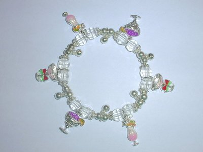 Free Shipping: Clear Beaded Cocktail Charm Bracelet