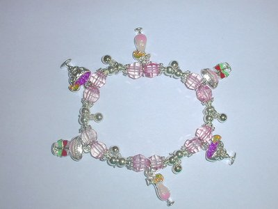 Free Shipping: Pink Beaded Cocktail Charm Bracelet