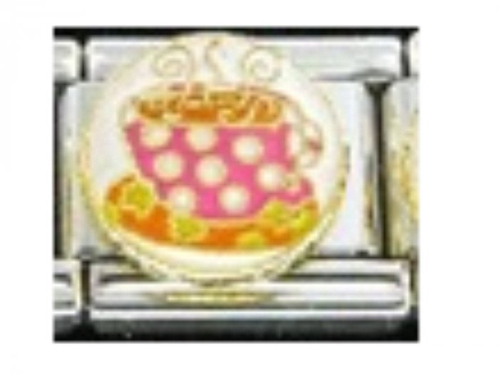 Free Shipping: Psychidelic Polka Dot Coffee or Tea Cup Italian Charm 9mm