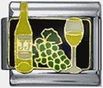 Free Shipping: White wine Italian Charm 9mm