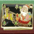 Free Shipping: Christmas Santa on Sled with Black Background Italian Charm 9mm
