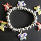 FREE SHIPPING! Colorful  Butterfly Beaded Charm Bracelet