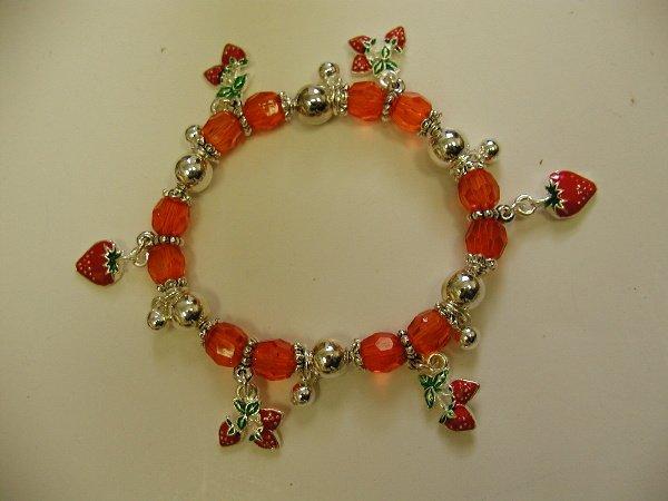FREE SHIPPING! Strawberry Beaded Charm Bracelet